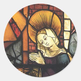 Escena de la natividad del vintage en vitral pegatinas redondas