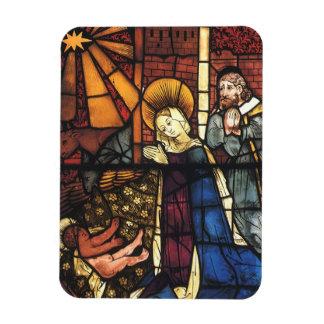 Escena de la natividad del vitral del vintage; iman de vinilo