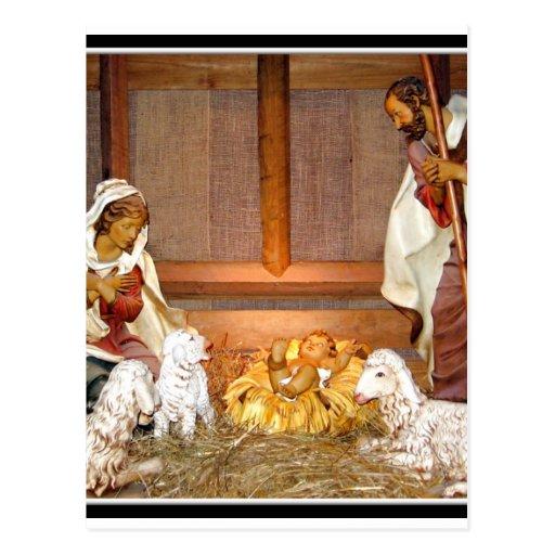 Escena de la natividad/familia santa postales