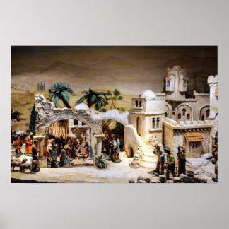 Escena de la natividad puesta para el navidad póster