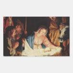 Escena de la natividad rectangular pegatina