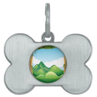 Escena de la naturaleza con el fondo de las placas de nombre de mascota