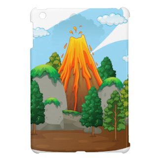 Escena de la naturaleza con la erupción del volcán