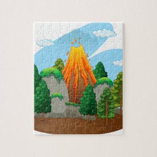 Escena de la naturaleza con la erupción del volcán puzzle