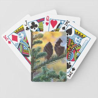 Escena de la naturaleza de los arbolados de los baraja cartas de poker