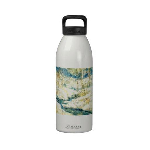 Escena de la nieve de John Henry Twachtman Botella De Agua Reutilizable