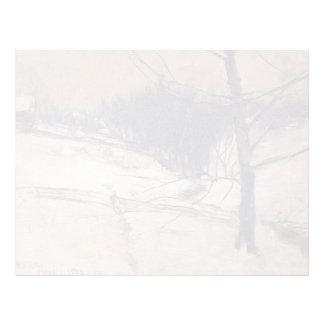 Escena de la nieve de John Henry Twachtman- Plantilla De Membrete
