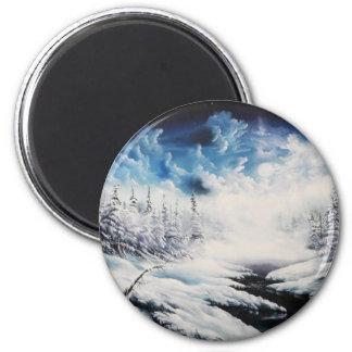 Escena de la nieve de la luna del invierno en prod imanes para frigoríficos