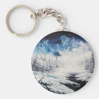 Escena de la nieve de la luna del invierno en prod llavero