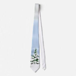 Escena de la nieve del árbol de navidad corbatas personalizadas