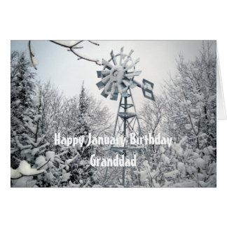 Escena de la nieve del Cumpleaños-molino de viento Tarjeta De Felicitación