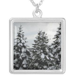 Escena de la nieve del invierno colgante cuadrado