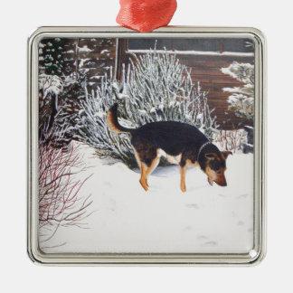 Escena de la nieve del invierno con el perro negro ornamente de reyes