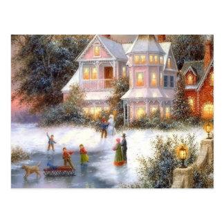 Escena de la nieve del invierno tarjetas postales