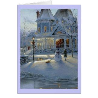 Escena de la nieve del navidad del invierno tarjeta de felicitación