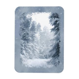 Escena de la nieve del navidad del país de las imán de vinilo