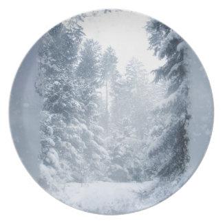Escena de la nieve del navidad del país de las plato