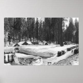 Escena de la nieve del parque nacional de secoya e poster