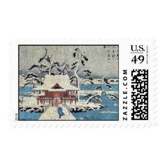 Escena de la nieve en la charca de Inokashira por Sellos