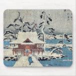 Escena de la nieve en la charca de Inokashira por  Tapete De Ratón