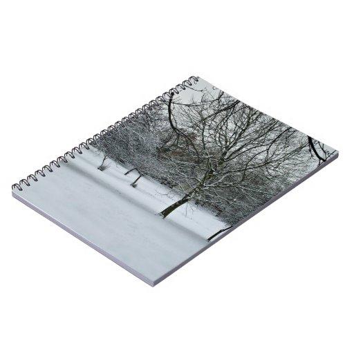 Escena de la nieve libros de apuntes con espiral