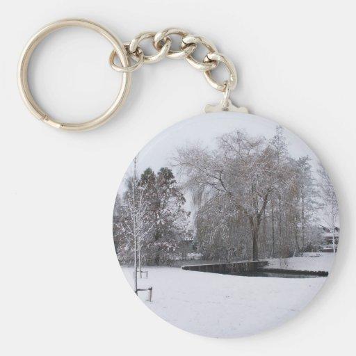 Escena de la nieve llavero redondo tipo pin