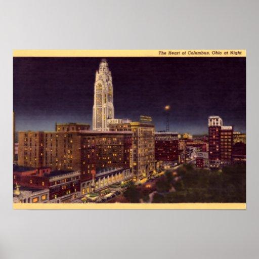 Escena de la noche de Columbus Ohio Poster