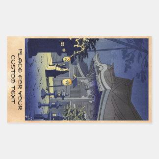 Escena de la noche de la capilla Asano Takeji de Pegatina Rectangular