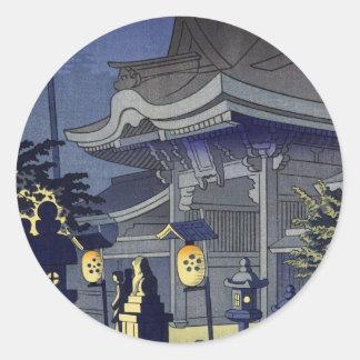 Escena de la noche de la capilla Asano Takeji de Pegatina Redonda