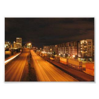 Escena de la noche de Tacoma Impresión Fotográfica