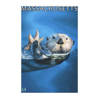 Escena de la nutria de MassachusettsSea Lona Estirada Galerias