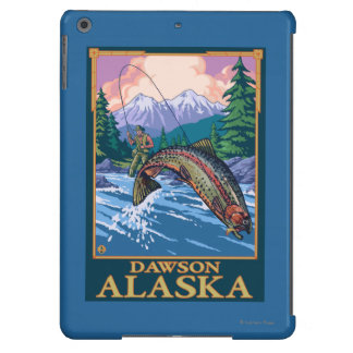 Escena de la pesca con mosca - Dawson, Alaska Funda Para iPad Air