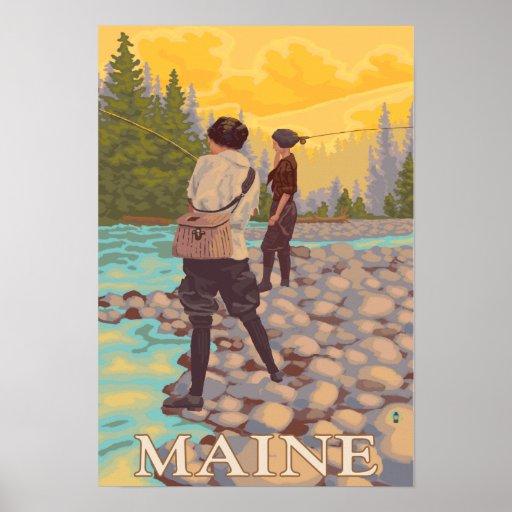 Escena de la pesca con mosca de MaineWomen Poster