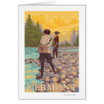 Escena de la pesca con mosca de VermontWomen Tarjeton