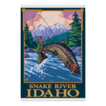 Escena de la pesca con mosca - el río Snake, Idaho Posters