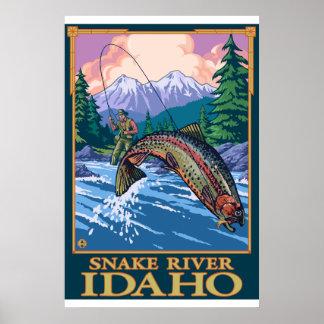 Escena de la pesca con mosca - el río Snake Idaho Posters