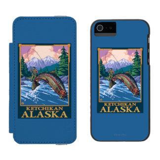 Escena de la pesca con mosca - Ketchikan, Alaska Funda Billetera Para iPhone 5 Watson
