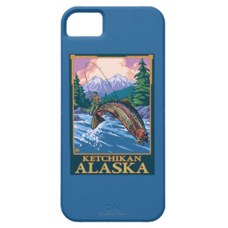 Escena de la pesca con mosca - Ketchikan, Alaska iPhone 5 Funda
