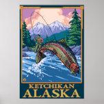 Escena de la pesca con mosca - Ketchikan, Alaska Poster