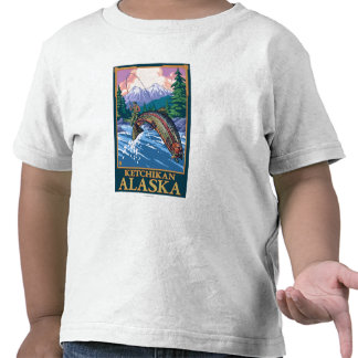 Escena de la pesca con mosca - Ketchikan, Alaska Camiseta