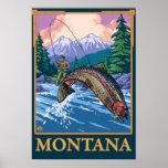 Escena de la pesca con mosca - Montana Posters