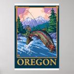 Escena de la pesca con mosca - Oregon Impresiones