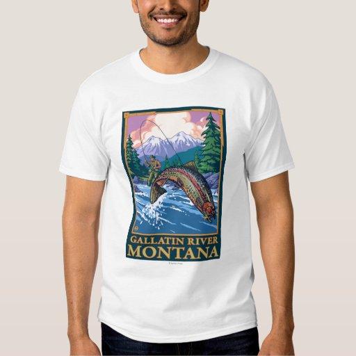 Escena de la pesca con mosca - río de la galatina, camisas