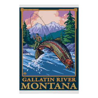 Escena de la pesca con mosca - río de la galatina poster