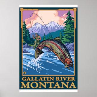 Escena de la pesca con mosca - río de la galatina, póster