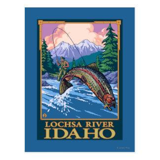 Escena de la pesca con mosca - río de Lochsa, Tarjetas Postales