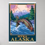 Escena de la pesca con mosca - Sitka, Alaska Poster