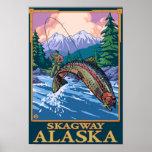 Escena de la pesca con mosca - Skagway, Alaska Póster
