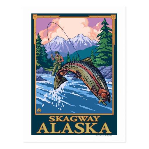 Escena de la pesca con mosca - Skagway, Alaska Postales
