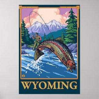 Escena de la pesca con mosca - Wyoming Impresiones
